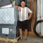Kevin Carney with a geothermal heat pump days before it was installed in Bucks County.