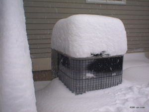 AC Covered in Snow